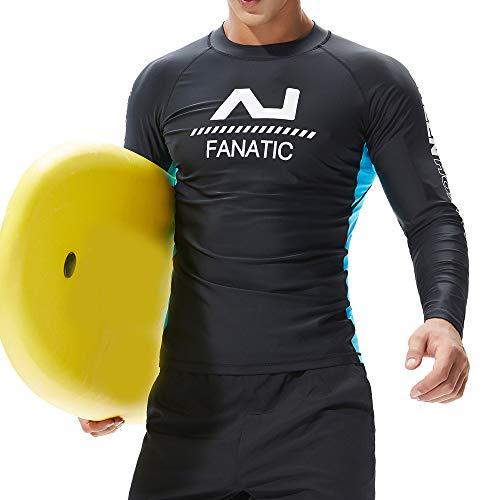 QIMANZI Neoprenanzug Herren Langarm Gerätetauchen Rash Guard UV Sun Schutz Skins Surfen Tauchen Schwimmen-T-Shirt(D Schwarz,L)