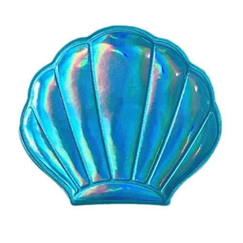 MB-LANHUA Creative Sea Shell en Forme de Miroir de Maquillage holographique Arc-en-Ciel de Couleur grossissant Compact cosmétique Double Face Pliant Miroir de Poche Portable 3#