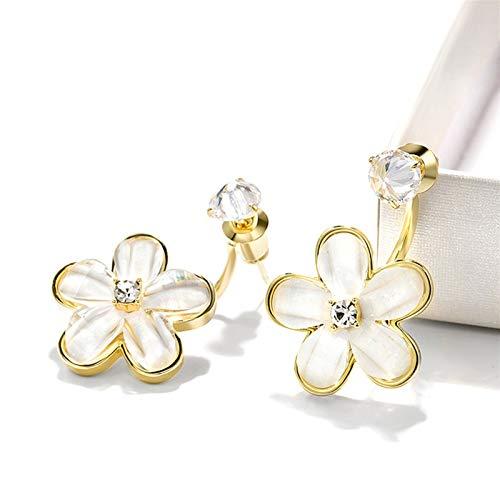 LICHUAN Pendientes colgantes de flores blancas, pendientes de moda, pendientes brillantes de oreja, pendientes de gota de gota para mujeres y niñas