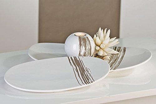 Casablanca Moderne Deko Schale Stripes weiß/grau aus Keramik Länge 39 cm Breite 24 cm