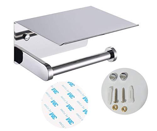 Porta rotolo di carta igienica ARSUK con mensola per cellulare, dispenser di carta velina da parete per bagno da cucina, adesivo e installazione a vite (Cromo)