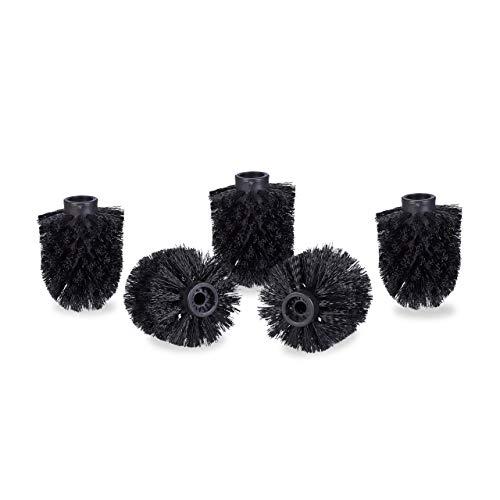 Relaxdays WC Bürstenkopf im 5er Set, lose Toilettenbürsten 9,5mm Gewinde, Ersatzbürstenkopf Durchmesser 7 cm, schwarz