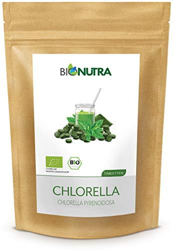 BIONUTRA® Chlorella orgánica en tabletas 1000 x 250 mg, 100% puros y naturales, con residuos controlados, con membrana rota, cultivados y producidos según la norma EU-ÖKO, paquete de 250 g