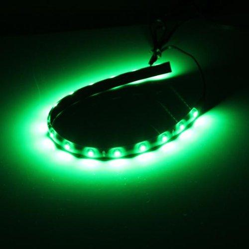 Ecloud Shop 4X Bande Lumineux Flexible Lampe 15 LEDs Vert 30cm 12V Pour Voiture