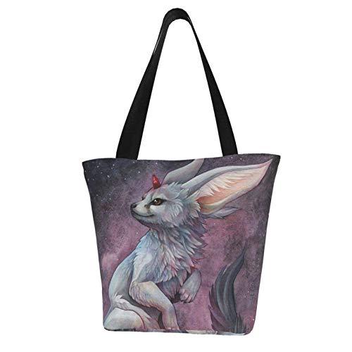 Weiße Mini-Handtasche mit Fuchs-Motiv, bedruckte Damen-Handtasche mit Reißverschluss, Schultertasche für Arbeit, Büchertasche, Freizeit, Hobo-Tasche zum Einkaufen