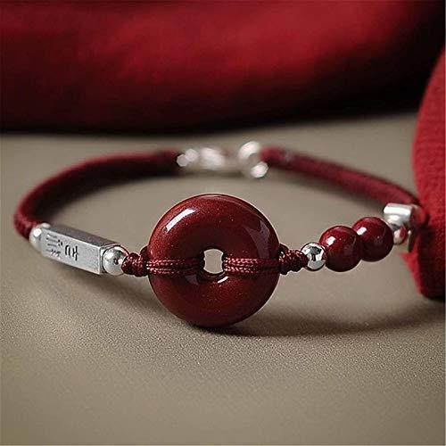 Feng Shui Amuleto Pulsera Prosperidad Natural Cinenabar Bead Pulsera Botón de Paz Silver Buddha Buddha Beads Braid Brazalet Lucky Charms Regalo para Mujeres/Hombres, a