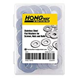 HongWay 3/8' x 1' OD Flat Washers (50PCS), 304 Stainless Steel Flat Finish Washer for Screws, Nuts and Bolts