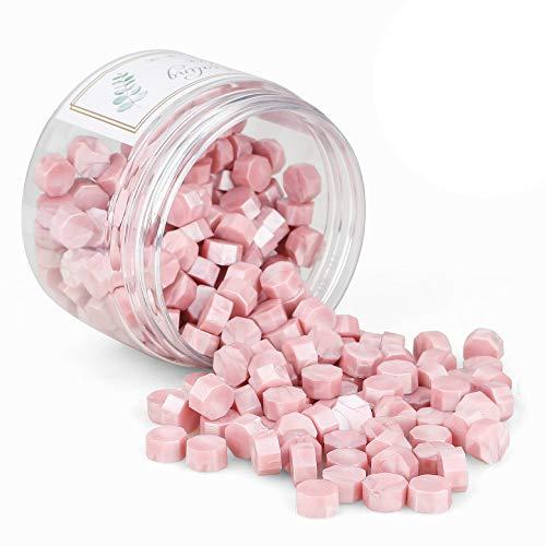 Gobesty Cera de Sellado Octagonal, 200 Piezas Sellos de Cera Sello Lacre para derretir la cera adhesiva artesanal (Rosado)