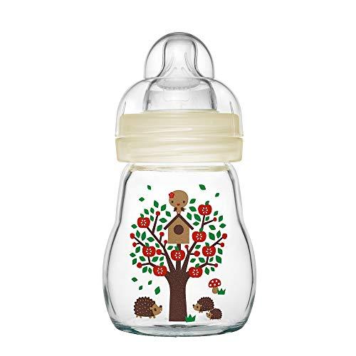 MAM Feel Good Babyflasche aus Glas (170 ml) – beige Babyflasche mit weiter Öffnung – stabile Baby Trinkflasche mit Sauger Gr. 1, ab der Geburt, Naturmotive, beige