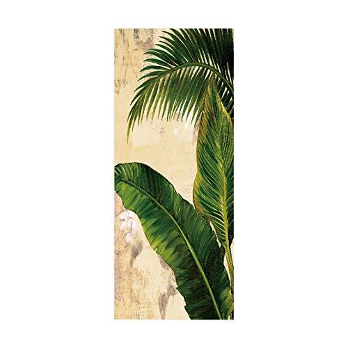 artkingdom Etiqueta engomada de la Puerta Poster Art Decal decoración del hogar para el Dormitorio Living Green Plantain Fan Tamaño 90 * 200cm