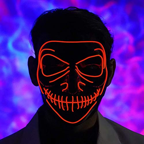 LED Light Up Mask Full Face Scary Flashing Mask for Halloween Party Costumes Party Carnival Festivals