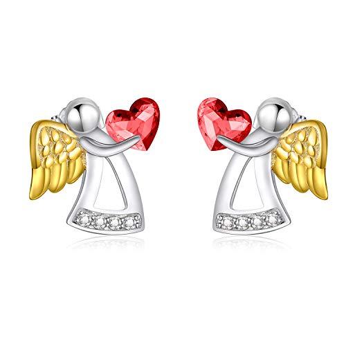 AOBOCO 0.925 plata de ley corazón White Cristales de Swarovski.