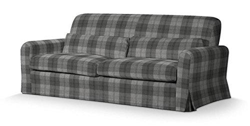 Dekoria Nikkala rivestimento per divano lungo Rivestimento per divano, copridivano, fodere adatto al modello Ikea Nikkala, nero-grigio