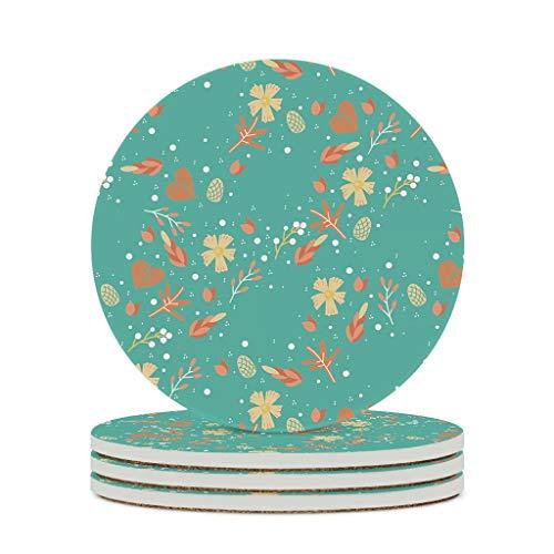 WellWellWell Posavasos de cerámica para plantas florales, redondos, de cristal, con base de corcho, resistente al calor, para jarrones caseros, diámetro de 9,8 cm, color blanco, 6 unidades