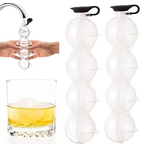 2 Stück Silikon Eiswürfelform,4-Loch Eiswürfelform Groß zur Herstellung von Eisbällen mit Einem Durchmesser von 5.5 CM,Eiskugel Form für Whisky, Cocktails und Bier