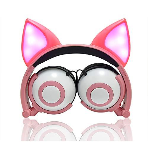 LIMSON Auriculares para niños con Cable sobre el oído con Aislamiento de Ruido Auriculares Tipo Oreja con luz LED para Amazon Fire Tablet PC Ordenador MP3, teléfonos celulares MP4 (Rosa)