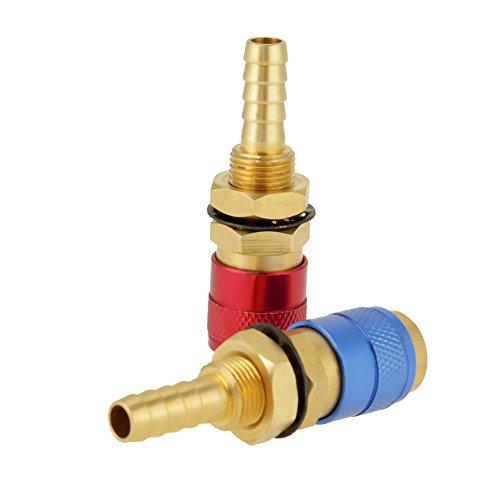 2 STÜCKE Wassergekühlten & Gas Adapter Schnellkupplung Fitting Für WIG-schweißbrenner 8mm (zwei farben)