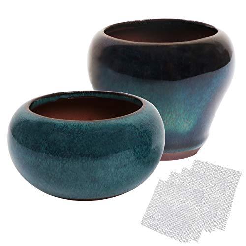 Kilofly Happy Bonsai - Set di 2 mini vasi smaltati + 4 schermi di drenaggio in rete morbida