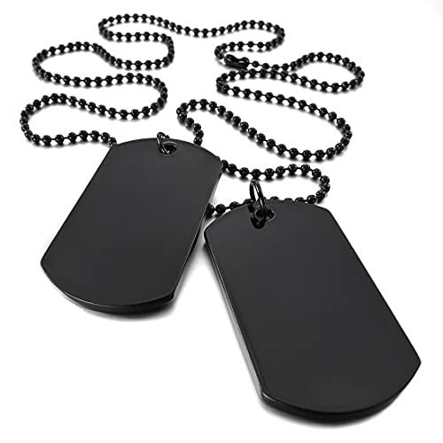 XKMY Etiqueta de identificación para mascotas 2 piezas collar colgante de aleación negro doble etiqueta de perro placa militar estilo tribal collar hombre mujer