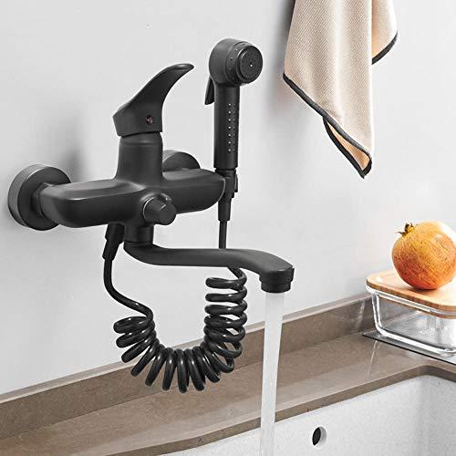 grifo cocina pared grifo cocina extraible, doble orificio, pistola, grifos de cocina fregadero lavadero, grifo giratorio-35cm negro