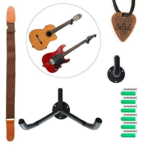 Horizontale Gitarrenhalter für die Wand mit Gitarrengurt und Plektrum, schwarze Wandhaken zum Befestigen und Anzeigen von elektrischen und akustischen Gitarren, Bass, Ukulele, Banjo oder Mandoline