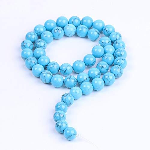SALAN Turquesa Azul Beads Sueltas 4 6 8 10 Mm Liso Howlite Piedra Piedl Tamaño para Collares Pulseras Pendientes Pendientes Accesorios Joyería Haciendo