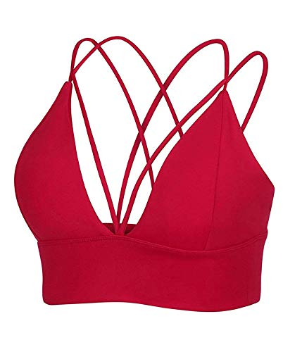 MotoRun Womens Push-up Padded Strappy Sports Bra Cross Back Wirefree Fitness Yoga Top Red-383 M