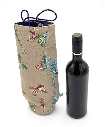 Flaschentasche, Tasche für Weinflasche, Wein Verpackung, Flaschenhülle, Geschenktasche Wein, Wiederverwendbare Geschenktasche Schmetterlinge