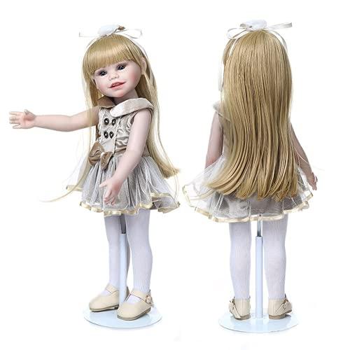 45Cm American Bebes Reborn Girl Dolls The Silicone Full Vinyl Body Waterproof Cute Doll Toys For Girls (blue eyes)