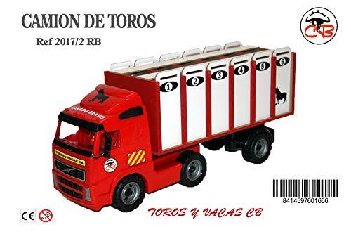 CAMION DE TOROS 6 CAJONES Rojo Y Blanco