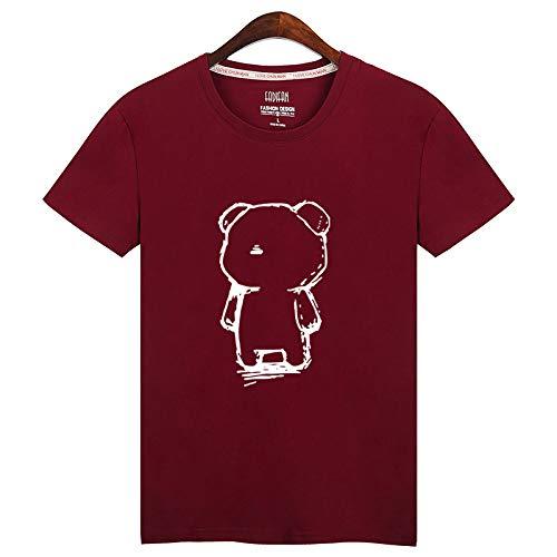 Corta con marea de la marca de ropa casual nuevo verano de gran tamaño de los hombres sueltos de algodón de media manga t-shirt boxeo, gato de las señoras puede llevar sin cintura 小oso Vino Tinto XL