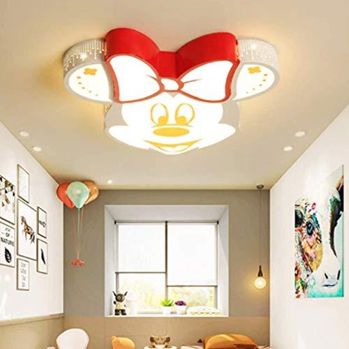 Lámpara De Techo LED Para Habitación De Niños Luz Con Control Remoto Lámpara De Techo Minnie De Metal Acrílico Regulable Niño Niña Jardín De Infantes Dormitorio Sala De Estudio Lámpara