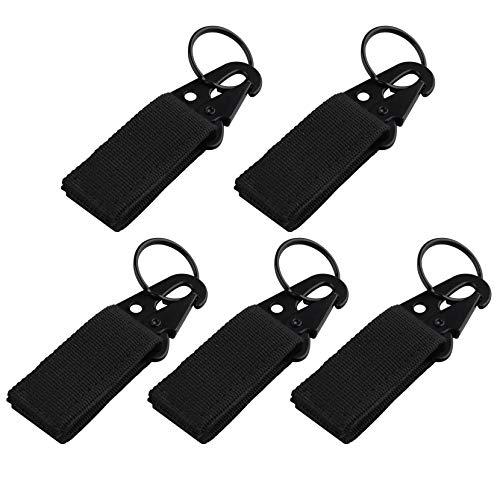 JYOPTO - 5 mosquetones tácticos para Colgar Cinturones, con Hebilla, con Clip, para Mochila, llaveros, enganches de Nailon, llaveros, para Camping, Senderismo, Caza y Actividades al Aire Libre
