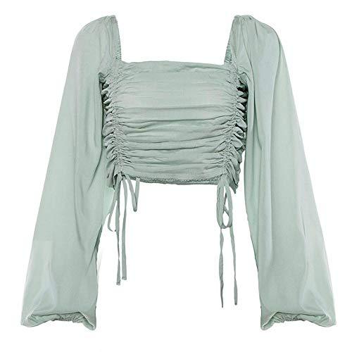 DAJUZI Damen Crop Top T-Shirt Laterne Ärmel quadratischen Kragen T-Shirt Plissee Kordelzug rückenfrei hellgrün solide langärmliges Hemd Frauen Tops M LightGreen