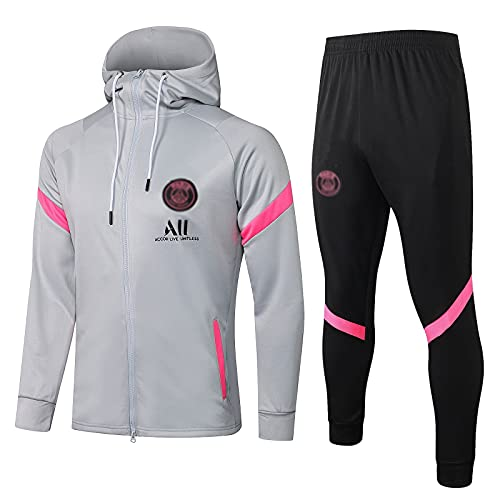WZH-ZQQY Traje De Entrenamiento De Fútbol del Club De Campeonato Europeo Traje De Deporte Gris Transpirable (Chaqueta + Pantalones) -kpl-c1612(Size:S,Color:Gris)