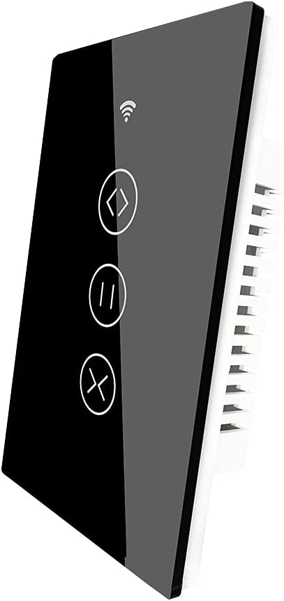 MOES WiFi Smart Curtain Switch Motorized Roller Blinds Shutter Switch,Smart Life/Tuya APP Remote Control,Compatible with Alexa Echo and Google Home,Black