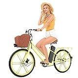 MC.PIG 24 Pulgadas Lady Bicicleta eléctrica-Pedal Ciudad ciclomotor Femenino, batería de Litio, Cuadro de Bicicleta eléctrica Estilo holandés Hombres Mujeres Ciudad Bicicleta (Color : Yellow)