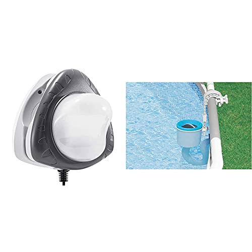 Intex Spot LED magnétique pour Piscine Hors Sol & Skimmer de Surface Deluxe pour Piscine