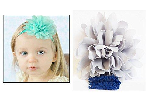 Bandeau dentelle cheveux fille Enfant & Bébé Fleur pompom Gris