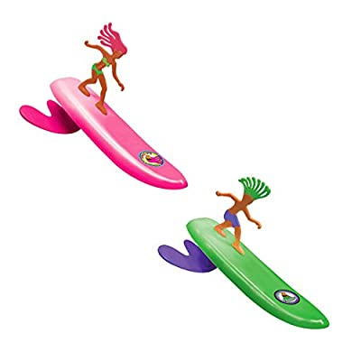 Surfer Dudes Wave Powered Mini-Surfer and Surfboard Beach Toy - 2 Pack - Doolin and Bobbi