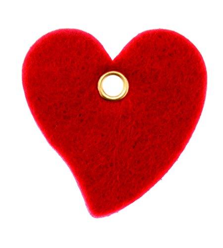 Glorex Filzherzen klein mit Loch, Filz, Rot, 13 x 11,5 x 1,5 cm, 6-Einheiten
