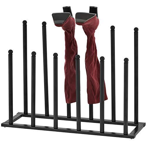 MyGift 6-Pair Modern Sleek Black Metal Boot Storage Rack