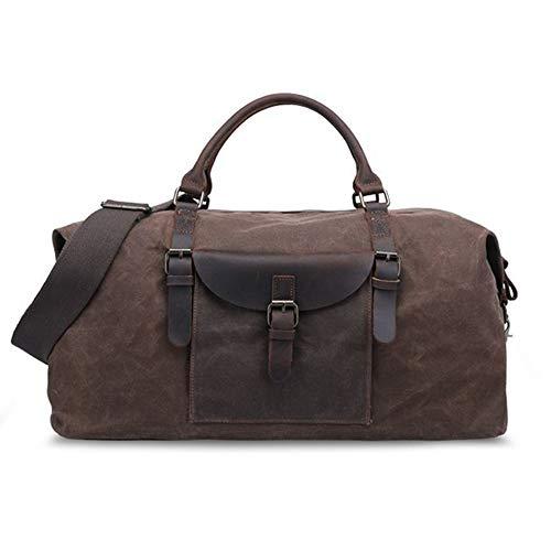 MxZas Overnight Weekend Bag Vintage Oversized Weekend Travel Bag Tote Bag Shoulder Handbag Canvas Luggage Gym Sport Unisex (Color : Coffee, Size : 54x27x32cm)