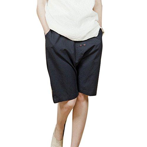 Juqilu Pantaloncini Chino da Donna - Harem Shorts Sciolto Bermuda Pantaloni Corti Tinta Unita Estivi Shorts Beach