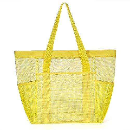 Comius Bolsa Grande de Malla de Playa, Bolsa de Almacenamiento de Juguetes de Arena, Bolsa Plegable de Compras, Bolsa de Almacenamiento de Comestibles para Vacaciones (Yellow)