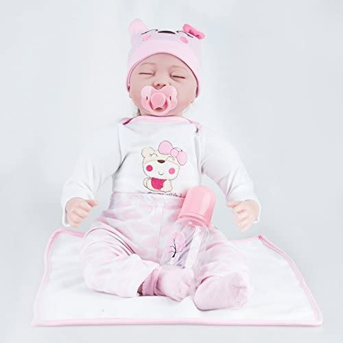 YIHANGG Reborn Baby Dolls Realistische Handgemachte Neugeborenen Silikon Baby Doll Lebensechte Weiße Simulation Augen Geschlossen mädchen Lieblings Geschenk