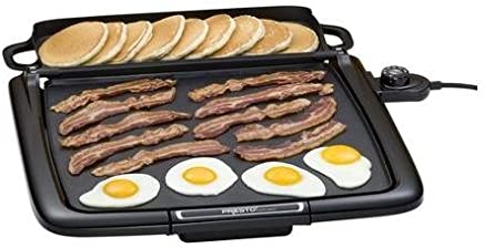 Black Griddle with Multi-Function Warming Tray, Cool-Touch Base, Premium Non