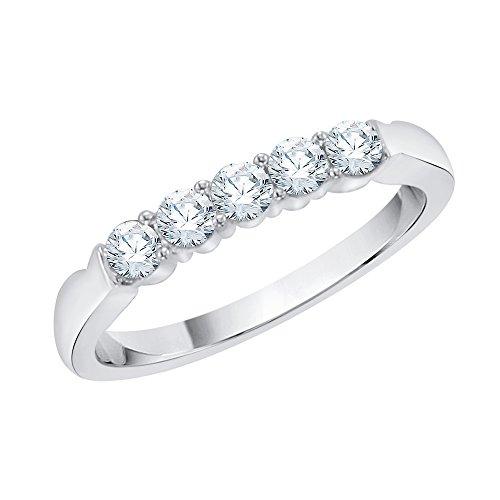 KATARINA Anillo de aniversario de diamantes en oro blanco de 14 k (1/4 quilates, J-K, SI2-I1) (tamaño 5,5)