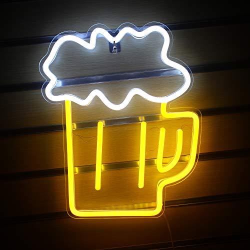 Bier geformte Leuchtreklame Led Neon Hellgelb Weiß Dekorative Lichter Wanddekoration Für Restaurant Bar Nachtclub Beach Store Design Urlaub Feier Party Dekor USB-Betrieb (14,2