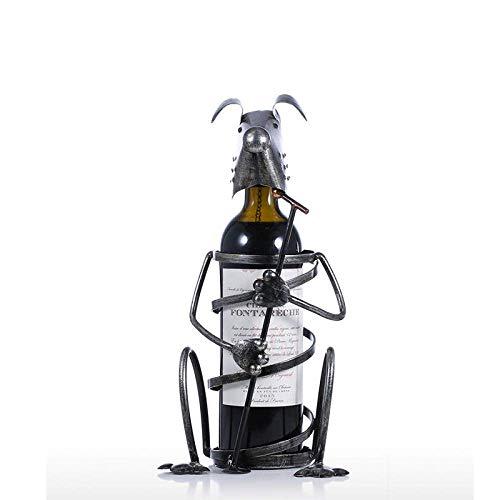 IREANJ Decoraciones Arte Artesanía Casa Sala Perro Vino Estante de hierro forjado Vino soporte de exhibición metal